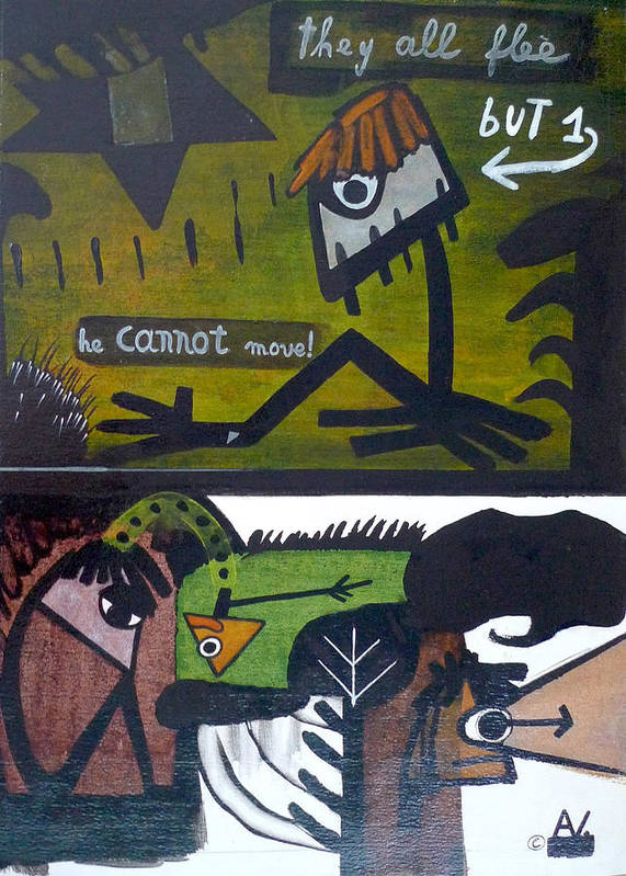 Primitive Art Poster featuring the painting But One. He Cannot Move. by Apple Vail