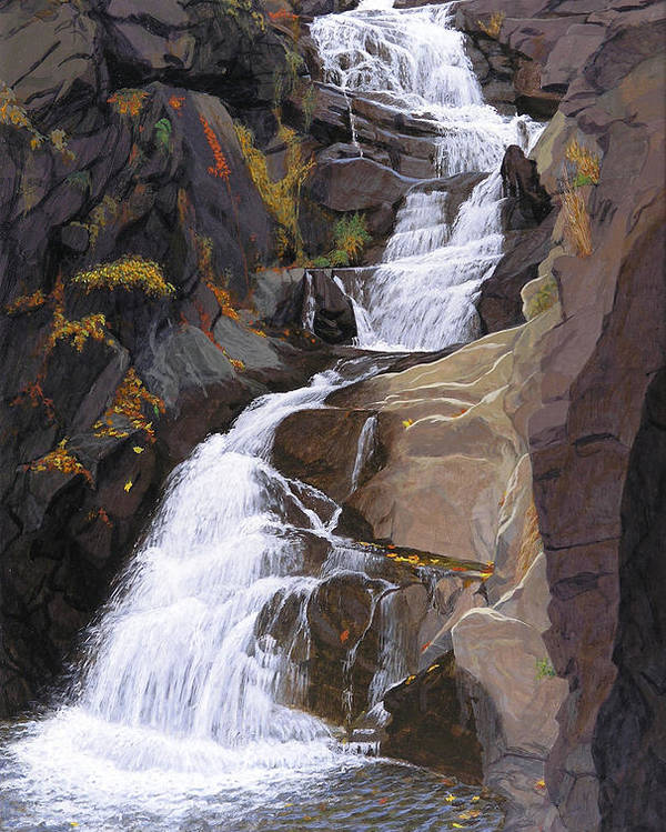 Buttermilk Falls Poster featuring the painting Buttermilk Falls by Glen Heberling