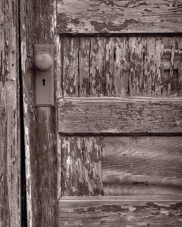 Door Poster featuring the photograph Cabin Door Bw by Steve Gadomski