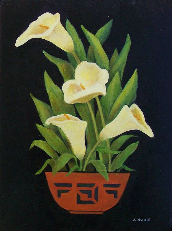 Flowers Poster featuring the painting Calla Lilies by Jane Landry Read