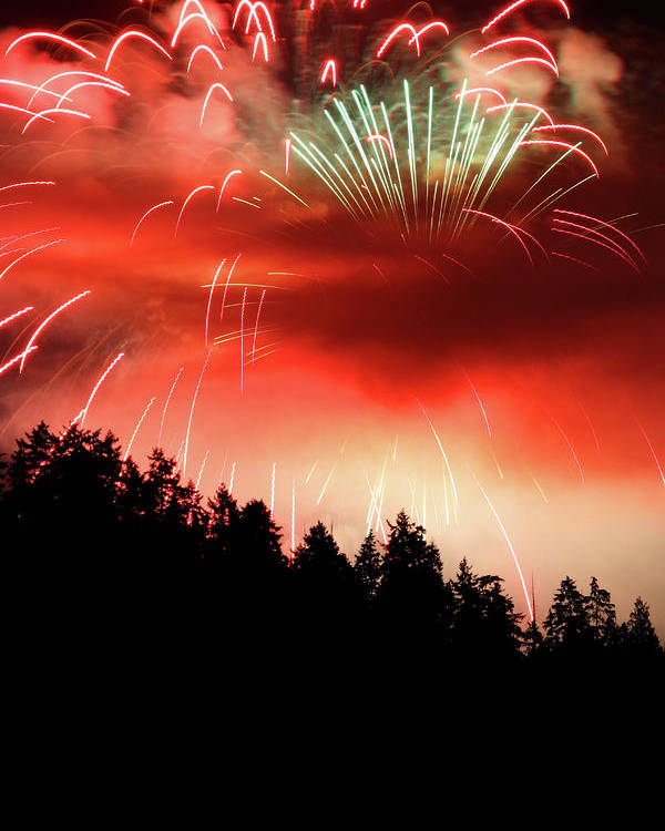 Fireworks Poster featuring the photograph Canada Competing In The Celebration Of Light Fireworks 2011 by Pierre Leclerc Photography