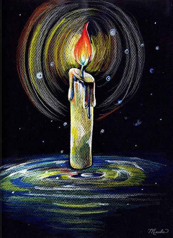 Candle Poster featuring the drawing Candel On The Water by Nada Meeks