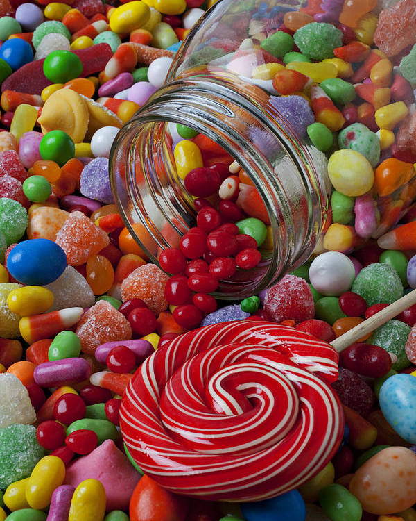 Jar Poster featuring the photograph Candy Jar Spilling Candy by Garry Gay