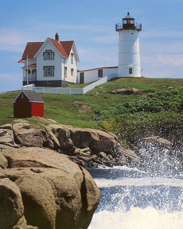 Cape Neddick Poster featuring the photograph Cape Neddick Nubble Lighthouse Maine by Jeff Clinedinst