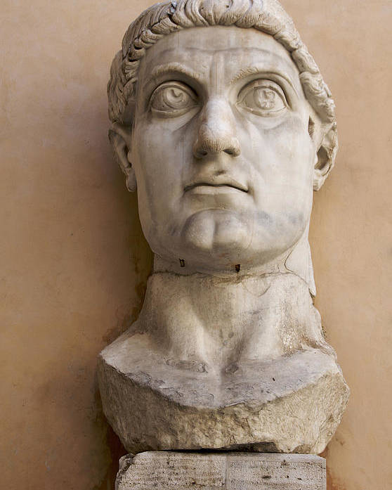 Works Poster featuring the photograph Capitoline Museums Palazzo Dei Conservatori- Head Of Emperor Con by Bernard Jaubert