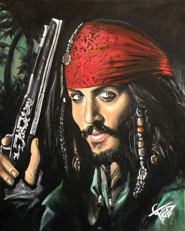 Johnny Depp Poster featuring the painting Captain Jack Sparrow by Tom Carlton