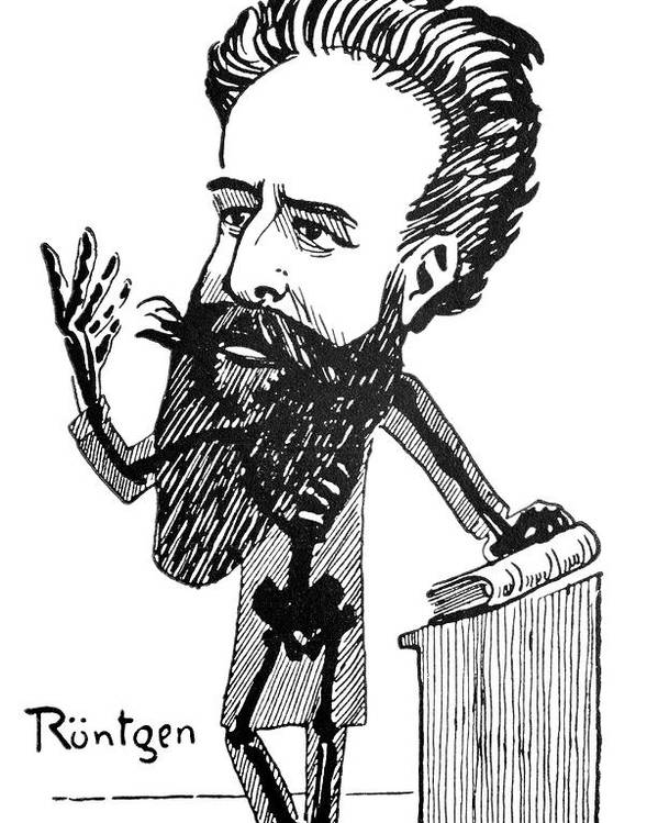 Wilhelm Roentgen Poster featuring the photograph Caricature Of Roentgen And X-rays by