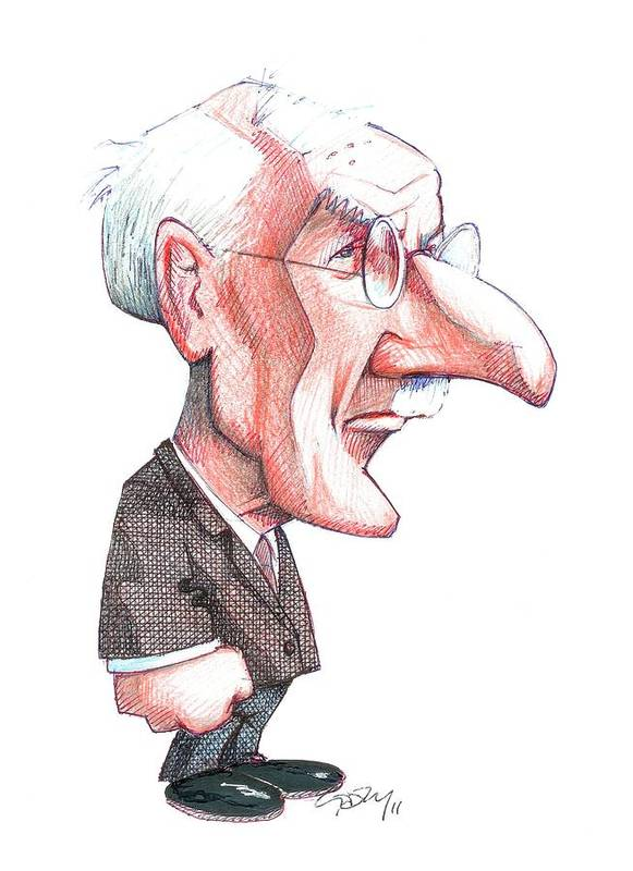 Adult Poster featuring the photograph Carl Jung, Caricature by Gary Brown
