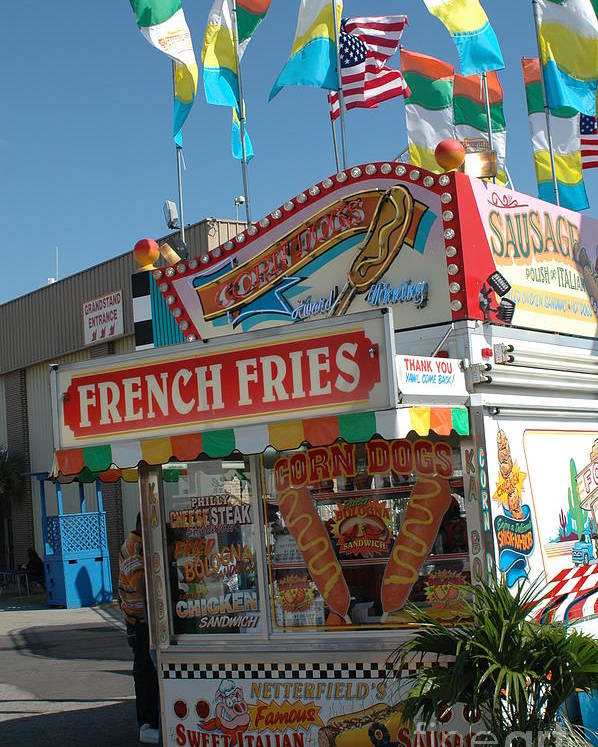 Carnival Art Photography Poster featuring the photograph Carnival Festival Fun Fair French Fries Food Stand by Kathy Fornal