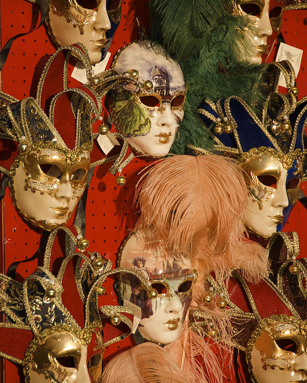 Color Image Poster featuring the photograph Carnival Masks For Sale by Jim Richardson