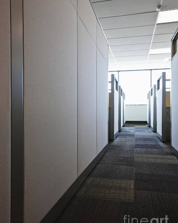 Aisle Poster featuring the photograph Carpeted Hall With Office Cubicles by Jetta Productions, Inc