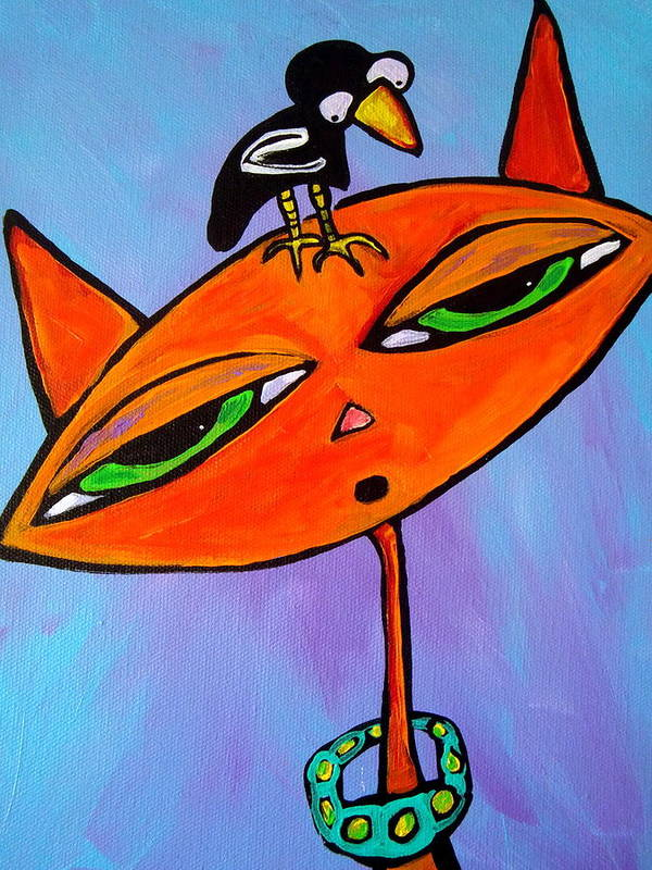 Cat Poster featuring the painting Cat And Bird by Carla Seaton