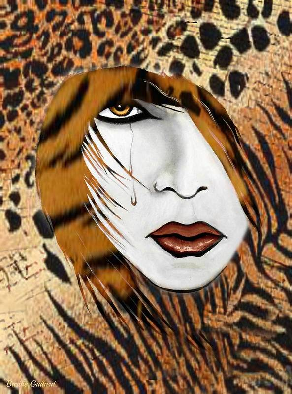 Animal Print Poster featuring the painting Cat Woman 3 by Barbie Guitard