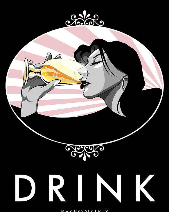 Drinking Poster featuring the digital art Champagne Drinking Woman Propaganda Style by Jay Reed