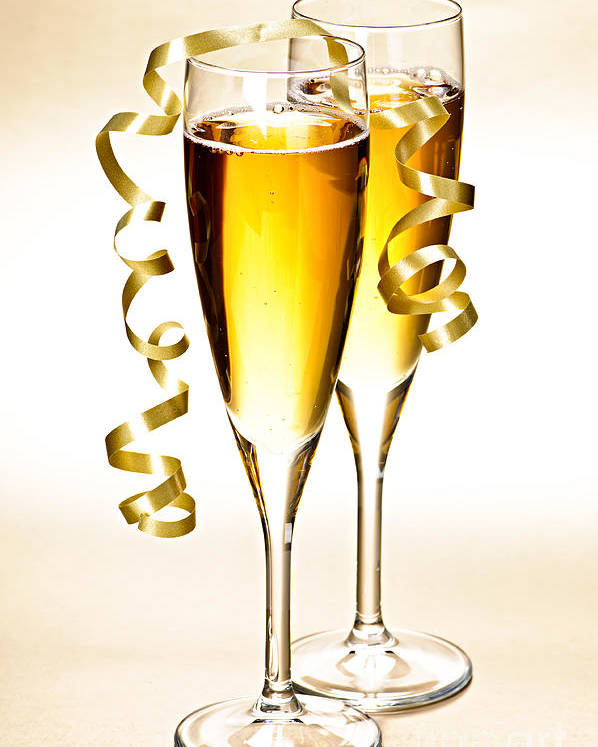 Champagne Poster featuring the photograph Champagne Glasses by Elena Elisseeva