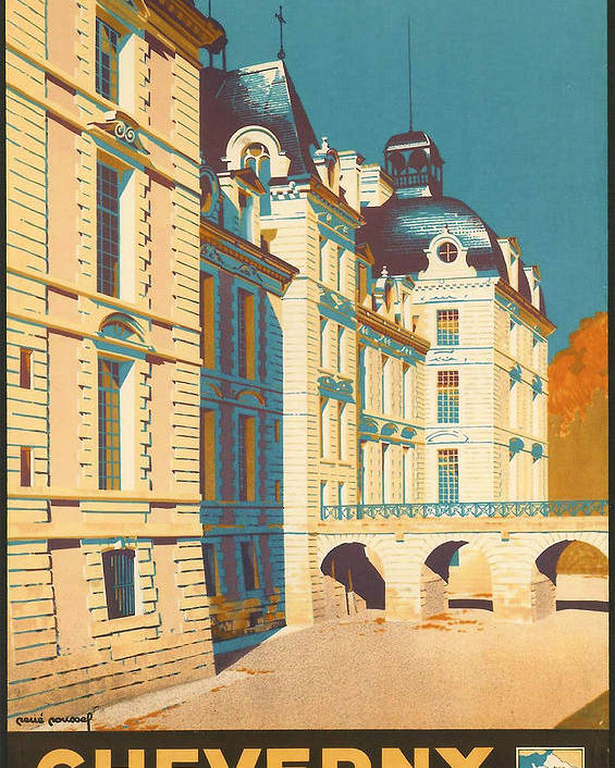Ancient Poster featuring the digital art Chateau De Cheverny by Georgia Fowler