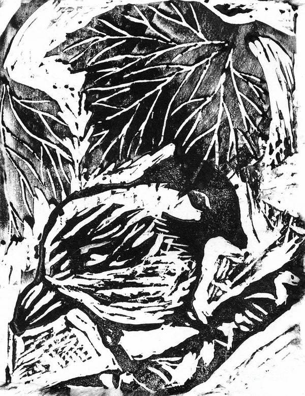 Lino Poster featuring the mixed media Chick-a-dee Block Print by Ellen Miffitt