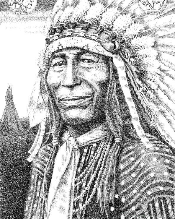 Jim Bridger Poster featuring the drawing Chief-iron-tail by Gordon Punt