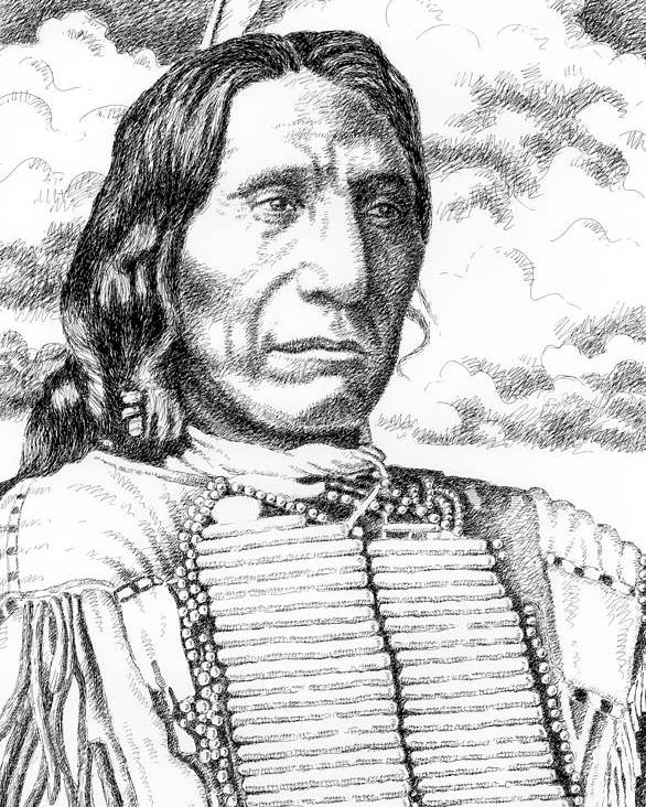 Jim Bridger Poster featuring the drawing Chief-red-cloud by Gordon Punt