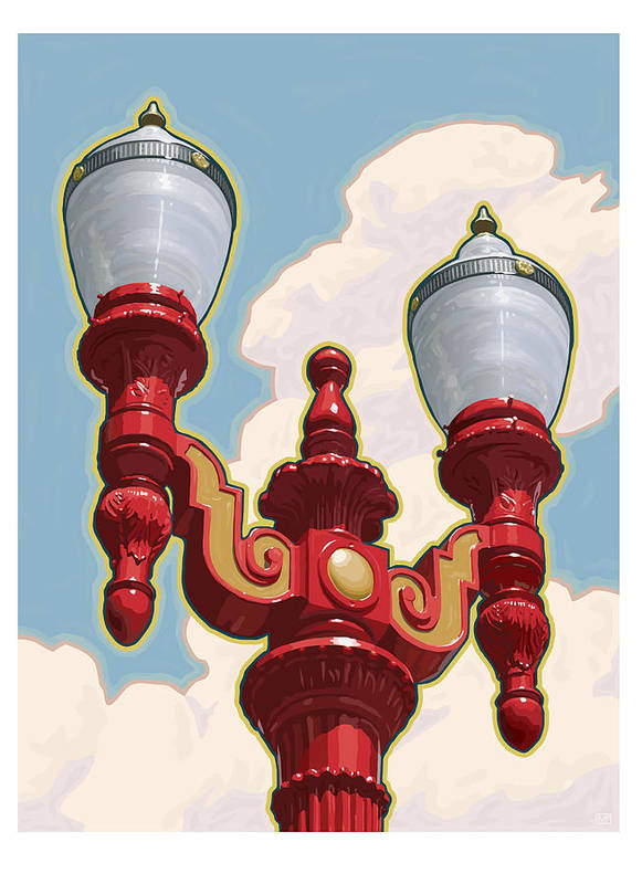 Chinatown Poster featuring the digital art Chinatown Street Light by Mitch Frey