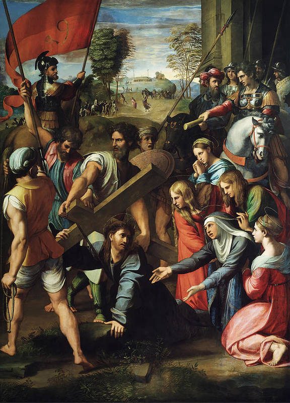 Christ Falls Way To Calvary Poster featuring the painting Christ Falls On The Way To Calvary by Raphael