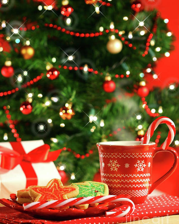 Child Poster featuring the photograph Christmas Cookies Near The Tree by Sandra Cunningham