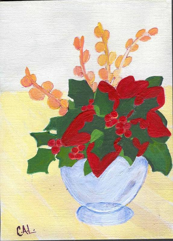 Christmas Poster featuring the painting Christmas Poinsetta by Carol Lunsford