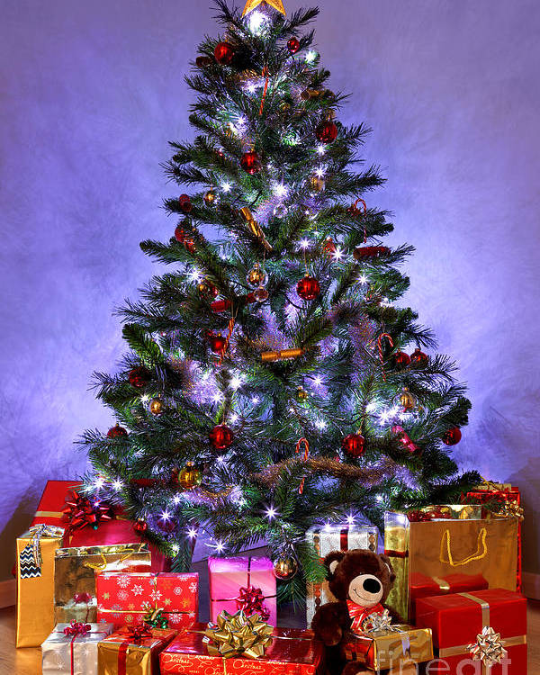 Christmas Poster featuring the photograph Christmas Tree And Presents by Richard Thomas