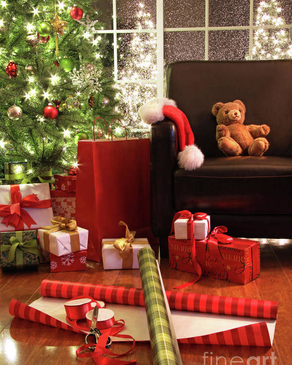 Background Poster featuring the photograph Christmas Tree With Gifts by Sandra Cunningham
