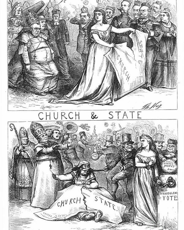 1870 Poster featuring the photograph Church/state Cartoon, 1870 by Granger