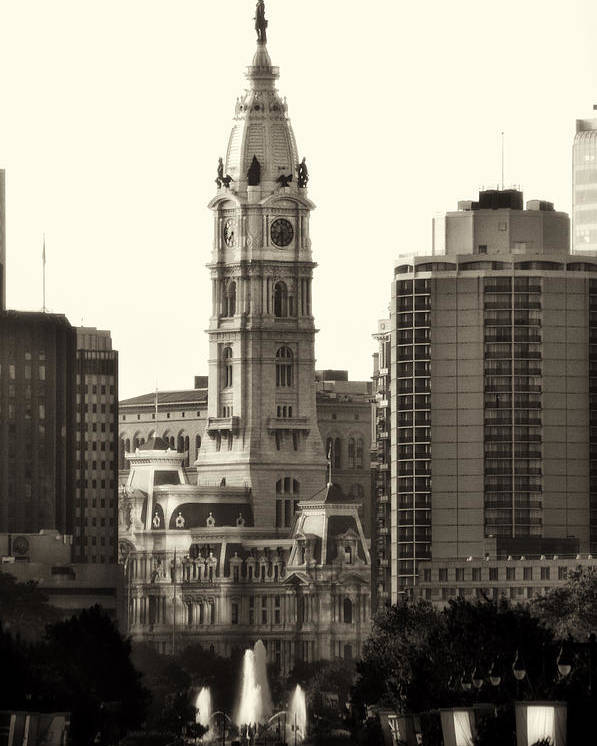 Philadelphia Poster featuring the photograph City Hall From The Parkway - Philadelphia by Bill Cannon
