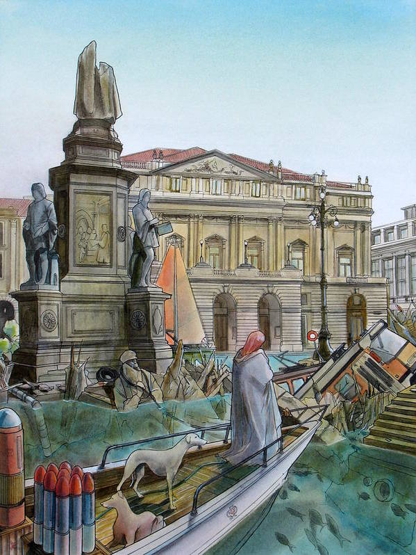 Milan Poster featuring the painting City Of Milan In Italy Under Water by Fabrizio Cassetta