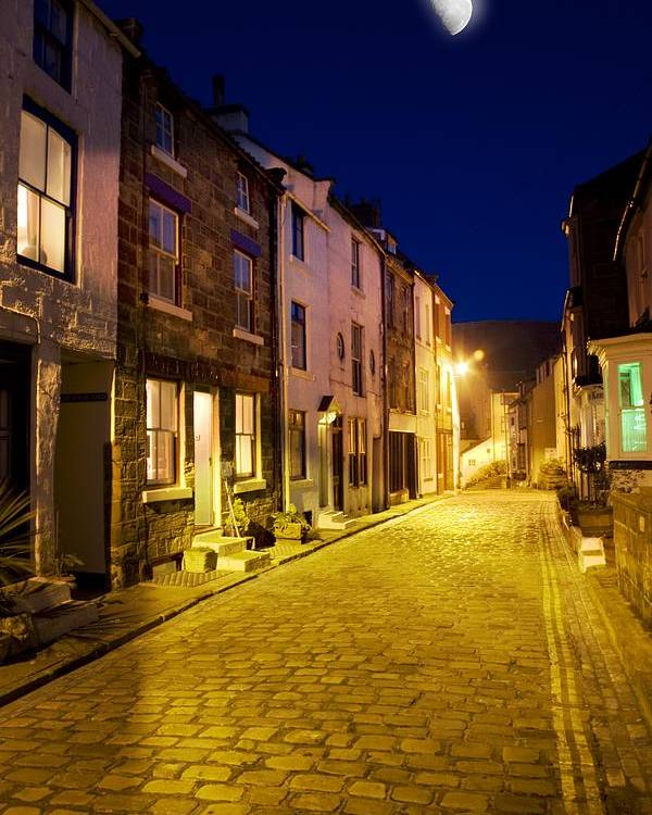 Cobblestone Poster featuring the photograph City Street At Night, Staithes by John Short