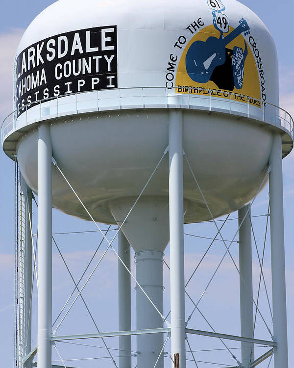 Crossroads Poster featuring the photograph Clarksdale Water Tower by Karen Wagner