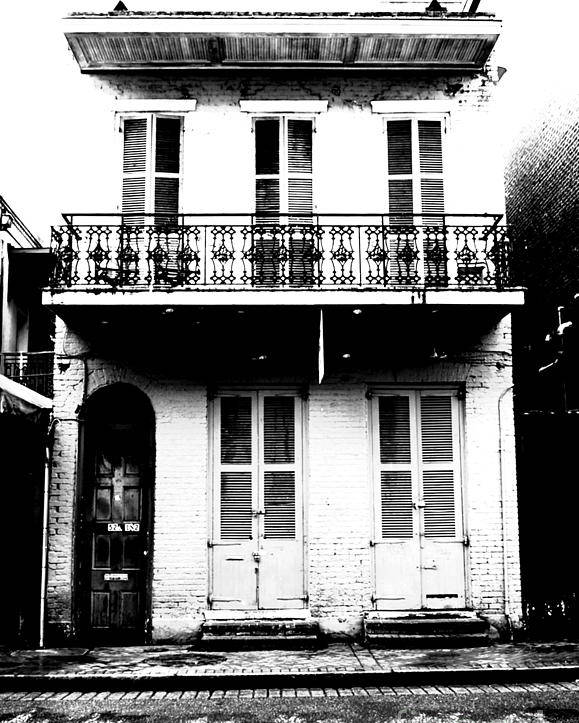 New Orleans Poster featuring the digital art Classic French Quarter Residence New Orleans Black And White Conte Crayon Digital Art by Shawn O'Brien