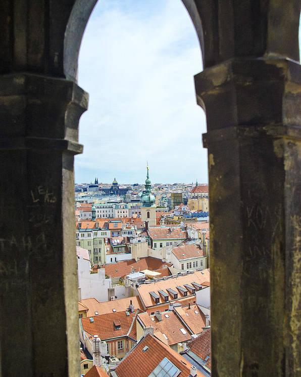 Prague Poster featuring the photograph Clock Tower View - Prague by Jon Berghoff