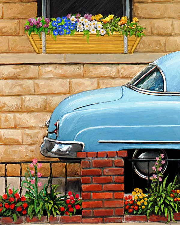 Old Car Poster featuring the painting Clunker In The Garden by David Kyte