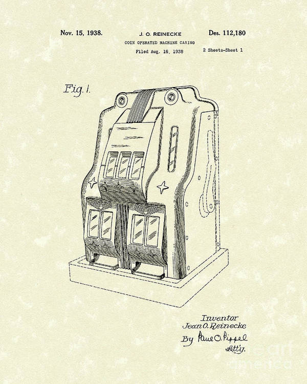 Jean O. Reineke Poster featuring the drawing Coin Operated Casino Machine 1938 Patent Art by Prior Art Design