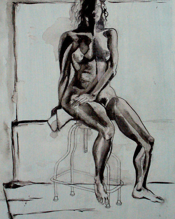 Naked Poster featuring the drawing Collins by Nina Mirhabibi
