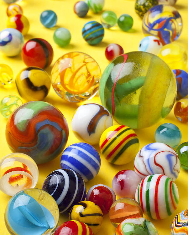 Marbles Poster featuring the photograph Colorful Marbles by Garry Gay