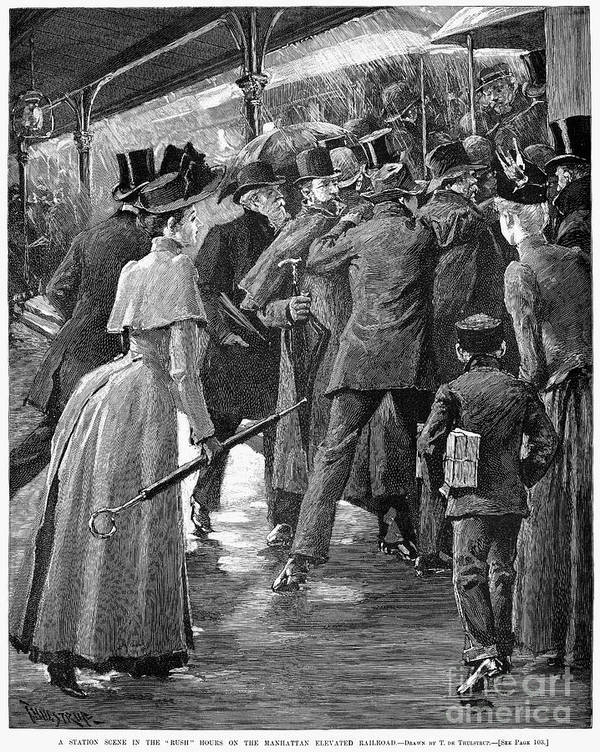 1890 Poster featuring the photograph Commuter Rush Hour, 1890 by Granger