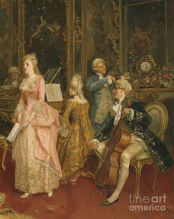 Male; Female; Musician; Musicians; Singer; Singing; Playing; Music; Dress; Pink; Elegant; Stylish; Fashion; Fashionable; Standing; Full Length; Seated; Sitting; Wig; Hairstyle; Piano; Harpsichord; Score Sheet; Violin; Cello; Interior; Fireplace; Performer; Performers; Performing; Performance; Spinet; Mantelpiece; Paneling Poster featuring the painting Concert At The Time Of Mozart by Ettore Simonetti