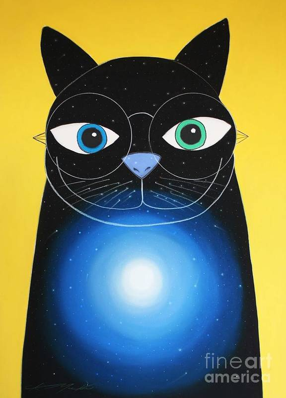 Cat Poster featuring the painting Cosmo by Chris Mackie
