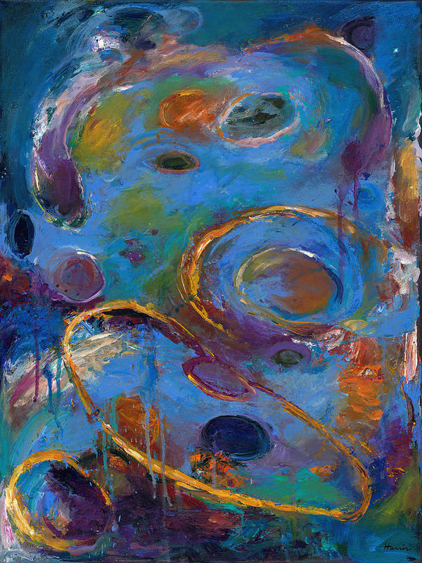 Abstract Expressionistic Poster featuring the painting Cosmos 237 by Johnathan Harris