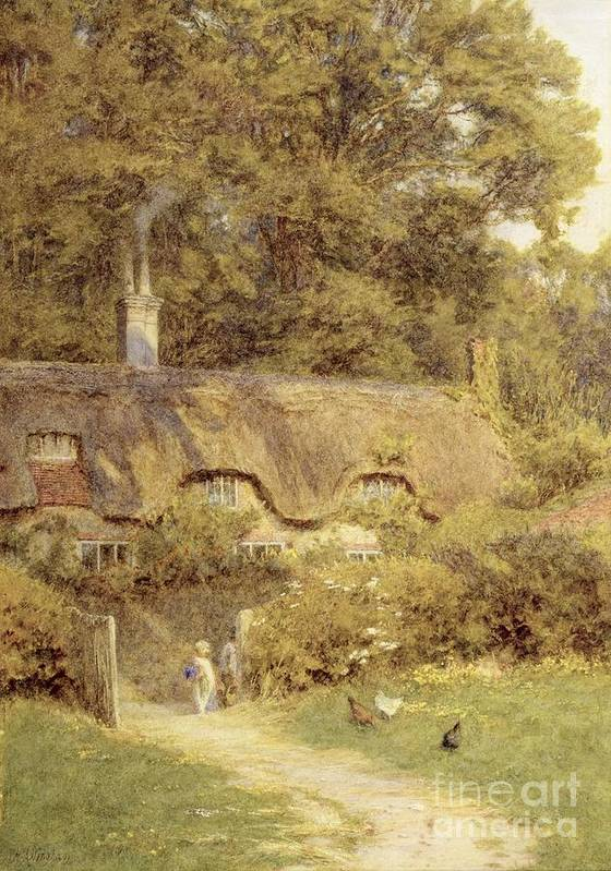 Child; Gate; Rural Scene; Country; Countryside; Home; Path; Garden; House; Wildflowers; Chicken; Picturesque; Idyllic; Female Poster featuring the painting Cottage At Farringford Isle Of Wight by Helen Allingham