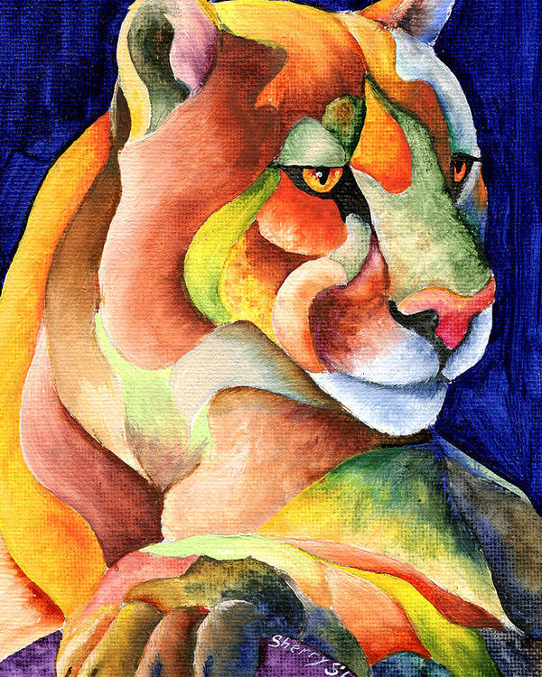 Cougar Poster featuring the painting Cougar by Sherry Shipley