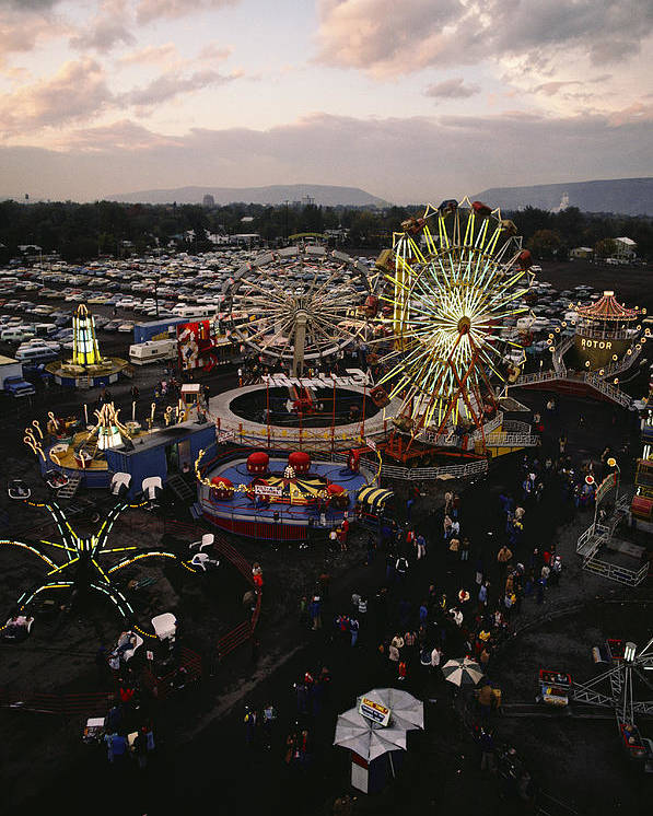 Amusement Parks And Rides Poster featuring the photograph County Fair, Yakima Valley, Rides by Sisse Brimberg