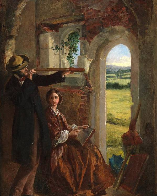 Couple Observing A Landscape (oil On Card Laid On Panel)male; Female; Telescope; Ruin; Drawing; Sketching; Leisure; Outing; Victorian; Door Poster featuring the painting Couple Observing A Landscape by English School