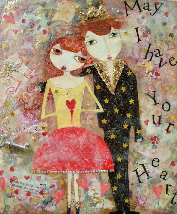 Couple Poster featuring the painting Courting Couple by Denise Rivkin