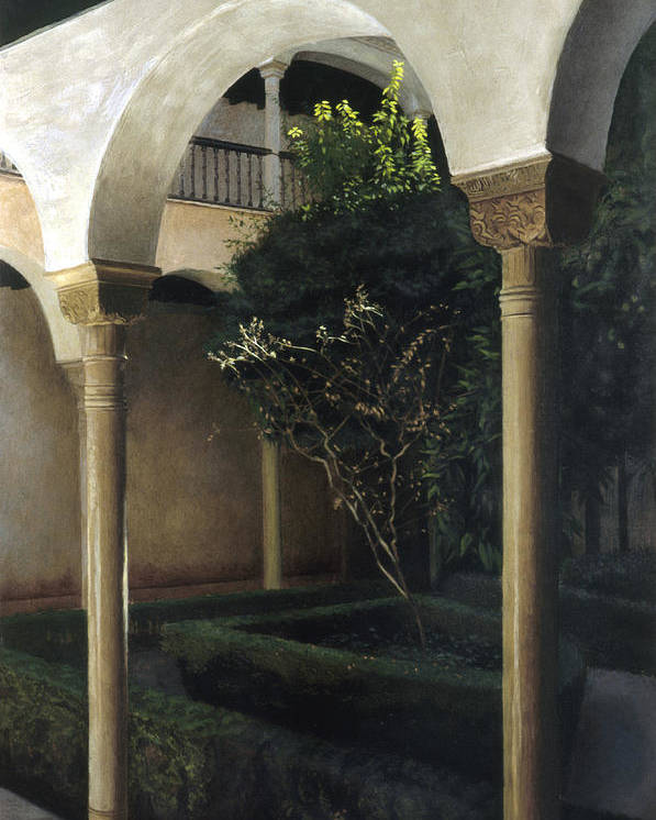 Alhambra Poster featuring the painting Courtyard Garden by Rohan Lowe